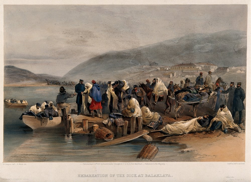 Wounded soldiers in Crimean war being transferred to hospital ships at Balaclava