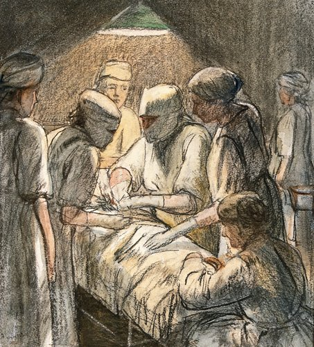 Sketch of women surgeons operating at Endell Street Hospital