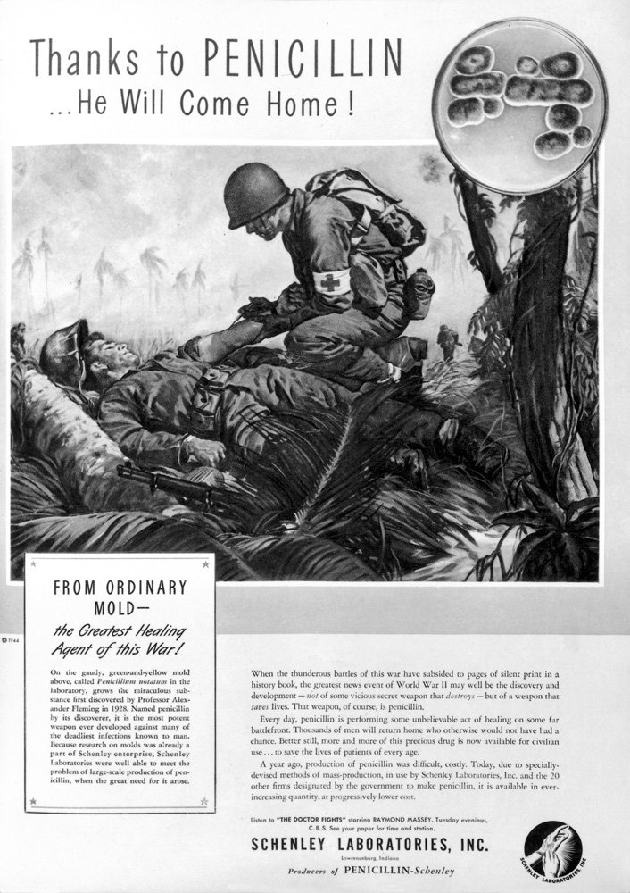 Second World War advert about the benefits of penicillin showing American soldiers in the South Pacific