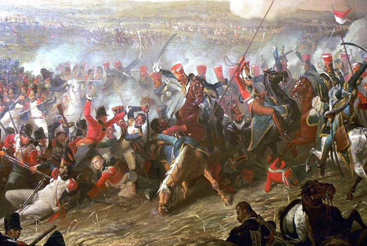 Painting of the Battle of Waterloo by Denis Dighton: British Hussars of Viviene's Brigade.