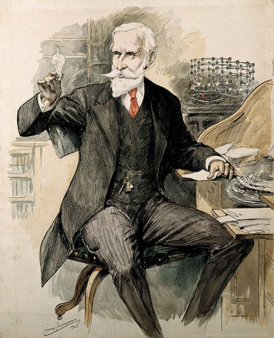 Sir William Crookes. Pen drawing with wash by H. Furniss, 1906.