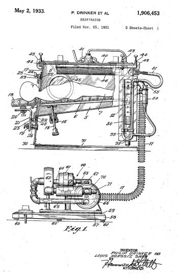 Philip Drinker's patent for an artificial respirator, 1933