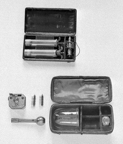 Two cases with instruments and glass cup for blood-letting 18th-19th century