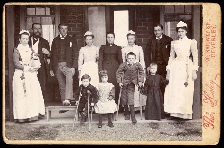 Staff and patients from Beverley cottage hospital, 1891