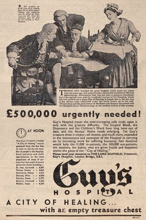 Advertisment appealing for funds for Guy's Hospital London, 1936