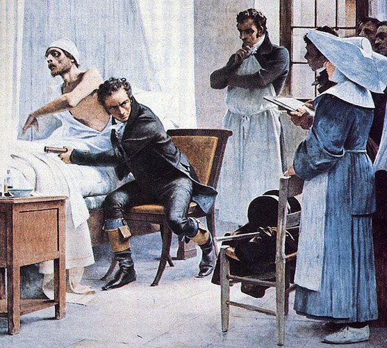 "Physician Rene Laennec Laennec examines a consumptive patient with a stethoscope in front of his students at the Necker Hospital""). Painting"