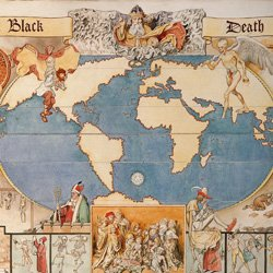A map of the world surrounded by illustrations of the Black Death