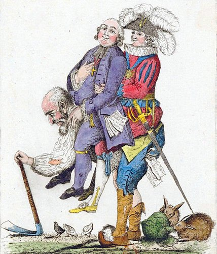 A stooped old man carrying a clergy man and a member of the nobility on his back