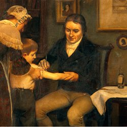 William Jenner vaccinating a small boy against smallpox as the boy's mother holds out his arm