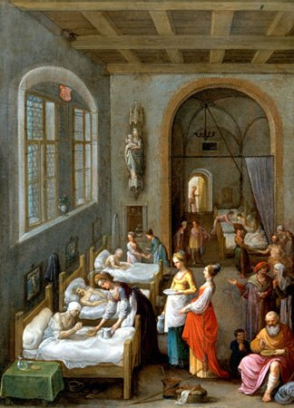 St Elizabeth visiting the sick in hospital, Oil painting by Adam Elsheimer, ca. 1598