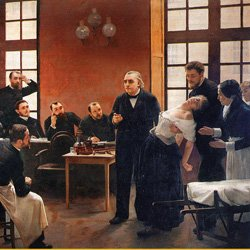 Dr Charcot giving a lecture on hysteria shows his class a woman in the thows of hysteria