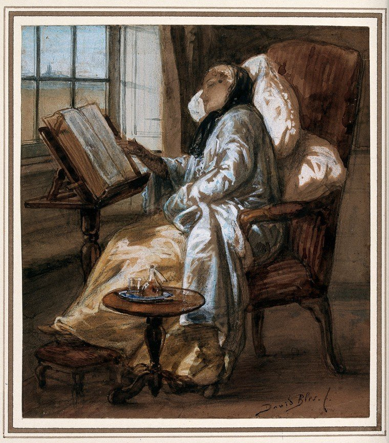 A convalescent young woman reading. Gouache painting by David Bles.