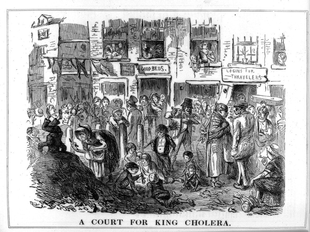 Illustration of London slum with subtitle 'A court for King Cholera'