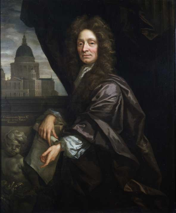 Oil painting of Christopher Wren, whoen seated in front of a view of St Paul's Catherdral