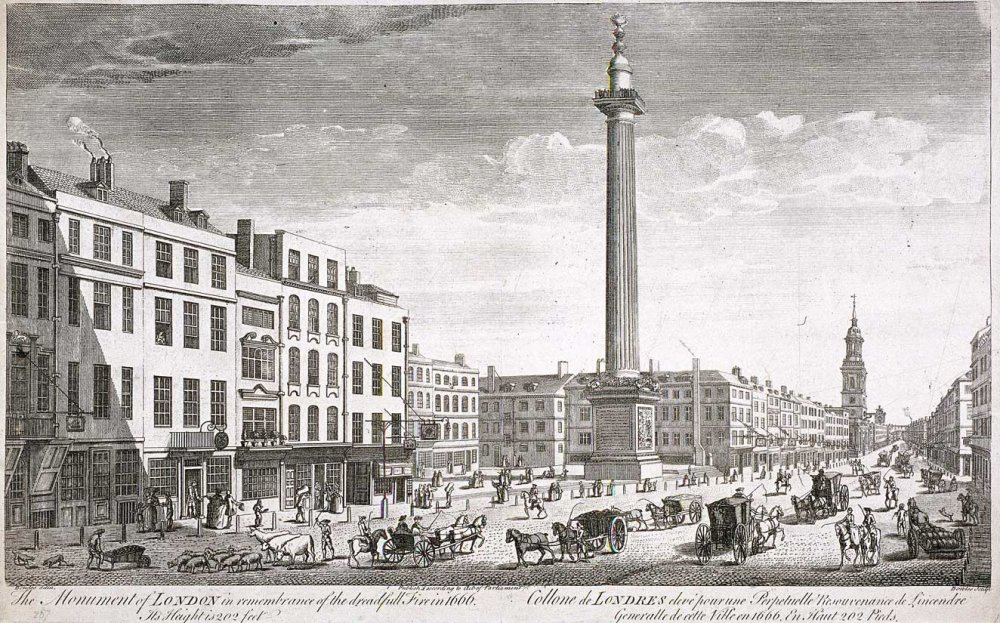 Illustration of the monument in Lonmdon, shows a busy street with carriges, horses and people in the foreground