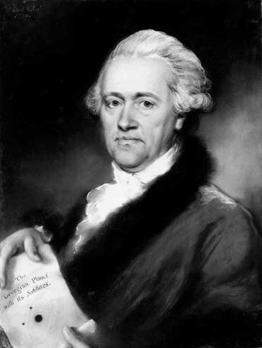 image shows william herschel holding a diagram depecting the orbit and position on the Gerogian planet