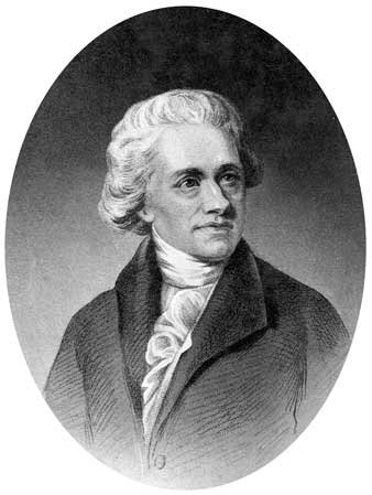 Engraving of William Herschel, shows a cameo style image, he is seated, look right and dressed in a coat with High necked dress shirt