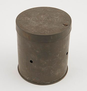 Cylindrical dark grey tin can on a white background